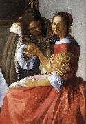 A Lady and Two Gentlemen (detail) ewt, VERMEER VAN DELFT, Jan