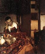 A Woman Asleep at Table wet, VERMEER VAN DELFT, Jan
