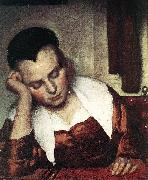 A Woman Asleep at Table (detail) atr, VERMEER VAN DELFT, Jan