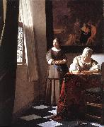 Lady Writing a Letter with Her Maid ar, VERMEER VAN DELFT, Jan
