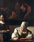 Lady Writing a Letter with Her Maid (detail) set, VERMEER VAN DELFT, Jan