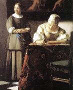 Lady Writing a Letter with Her Maid (detail)  ert, VERMEER VAN DELFT, Jan