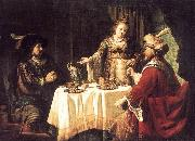 VICTORS, Jan The Banquet of Esther and Ahasuerus esrt oil painting