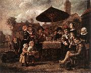 VICTORS, Jan Market Scene with a Quack at his Stall er oil painting