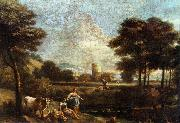 ZAIS, Giuseppe Landscape with Shepherds and Fishermen oil painting