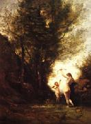 camille corot A Nymph Playing with Cupid(Salon of 1857)