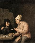 OSTADE, Adriaen Jansz. van Piping and Drinking in the Tavern ag oil painting