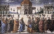 PERUGINO, Pietro Christ Handing the Keys to St. Peter af oil painting on canvas