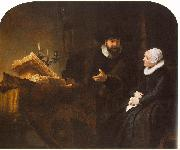 REMBRANDT Harmenszoon van Rijn The Mennonite Minister Cornelis Claesz. Anslo in Conversation with his Wife, Aaltje D oil painting on canvas