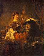 REMBRANDT Harmenszoon van Rijn Rembrandt and Saskia in the Scene of the Prodigal Son in the Tavern dh oil painting
