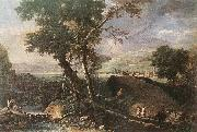 RICCI, Marco Landscape with River and Figures df oil painting reproduction