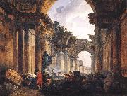ROBERT, Hubert Imaginary View of the Grande Galerie in the Louvre in Ruins AG oil painting