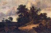 RUISDAEL, Jacob Isaackszon van Landscape with a House in the Grove at oil painting