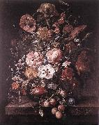 RUYSCH, Rachel Bouquet in a Glass Vase dsf oil painting