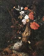 RUYSCH, Rachel Flowers on a Tree Trunk af oil painting