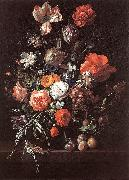 RUYSCH, Rachel Still-Life with Bouquet of Flowers and Plums af oil painting
