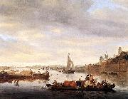 RUYSDAEL, Salomon van The Crossing at Nimwegen af oil painting