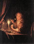 SCHALCKEN, Godfried Girl Eating an Apple sg oil painting