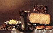 SCHOOTEN, Floris Gerritsz. van Still-life with Glass, Cheese, Butter and Cake A oil painting