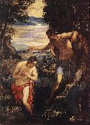 TINTORETTO, Jacopo Baptism of Christ  sd oil painting