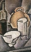 Juan Gris Winebottle and kettle of tile oil painting