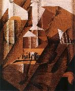 Juan Gris The still life having bottle oil painting