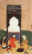 the theophany through Layli sitting framed within the prayer niche, Bihzad