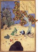 The saintly Bishr fishes up the corpse of the blaspheming Malikha from the magic well which is the fount fo life, Bihzad