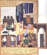 Bihzad Caliph al-Ma-mun in his bath oil painting artist
