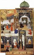 A dervish begs to be admitted in the mosque, Bihzad