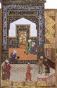 A Poor dervish deserves,through his wisdom,to replace the arrogant cadi in the mosque, Bihzad