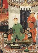 Timur enthroned and holding the white kerchief of rule