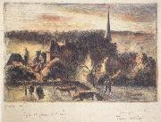 Church and farm at Eragny-sur-Epte, Camille Pissarro