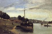 Barge on the Seine Peniche sur la Seine, Camille Pissarro