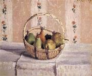 apples and pears in a round basket, Camille Pissarro