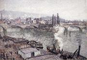 Camille Pissarro The Stone bridge in Rouen,dull weather oil painting