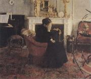 Fernand Khnopff Listingto Music by Schumann oil painting