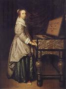 Hendrick Martensz Sorgh Girl at a virginal oil painting artist