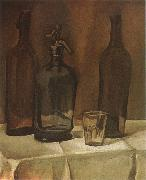 Juan Gris Siphon and winebottle oil painting