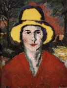 The Woman wear the hat in yellow