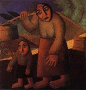 The Woman and child Pick up the water pail