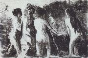Line of bathers