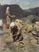 Nikolai Kasatkin Poor People Collecting Coal in an Abandoned Pit oil painting