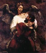 REMBRANDT Harmenszoon van Rijn Jacob Wrestling with the Angel oil painting reproduction