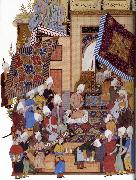 Shaykh Muhammad Joseph,Haloed in his tajalli,at his wedding feast oil painting