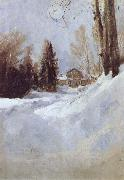 Winter in Abramtsevo-A House, Valentin Serov