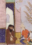 Sultan Muhmud of Ghazni depicted as a young Safavid prince visiting a hermit