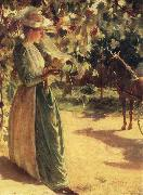 Charles Courtney Curran Woman with a horse oil painting artist
