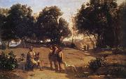 Corot Camille Homero and the shepherds oil painting reproduction