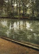 Riverside through the rain, Gustave Caillebotte
